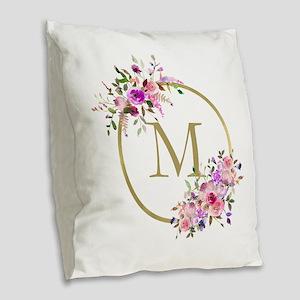 Floral and Gold Monogram Burlap Throw Pillow