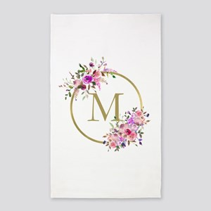 Floral and Gold Monogram Area Rug