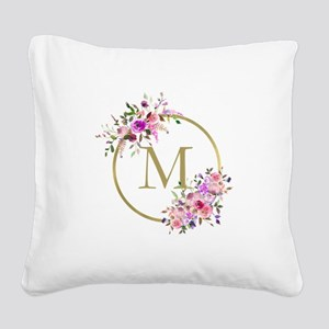 Floral and Gold Monogram Square Canvas Pillow