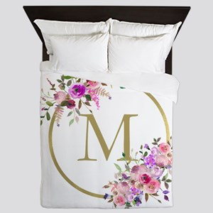Floral and Gold Monogram Queen Duvet