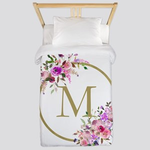 Floral and Gold Monogram Twin Duvet Cover