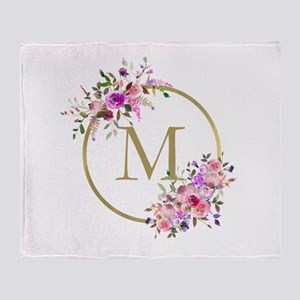 Floral and Gold Monogram Throw Blanket