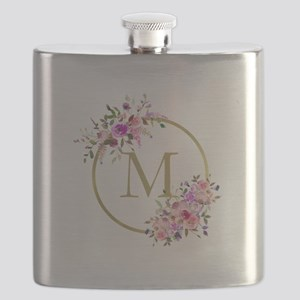 Floral and Gold Monogram Flask