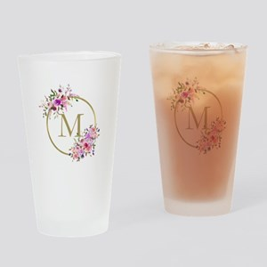 Floral and Gold Monogram Drinking Glass