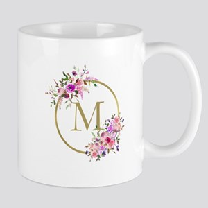 Floral and Gold Monogram Mugs