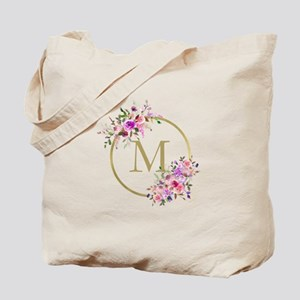 Floral and Gold Monogram Tote Bag