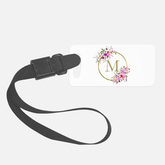 Floral and Gold Monogram Luggage Tag