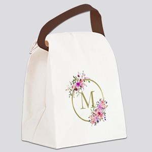 Floral and Gold Monogram Canvas Lunch Bag
