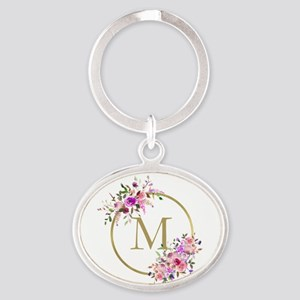 Floral and Gold Monogram Keychains