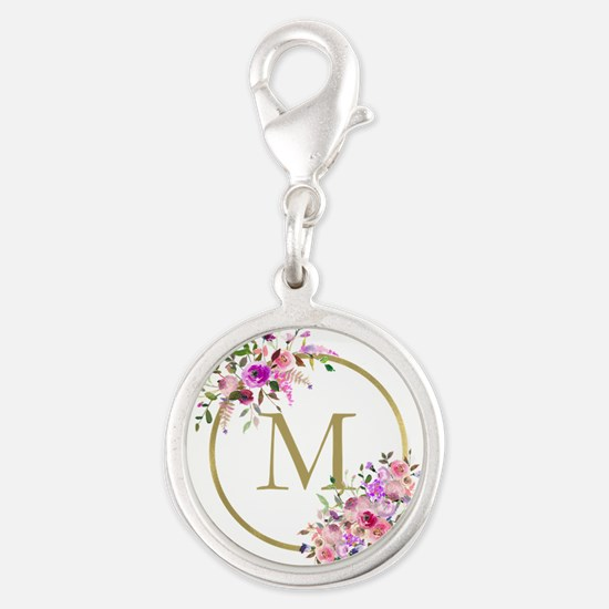 Floral and Gold Monogram Charms