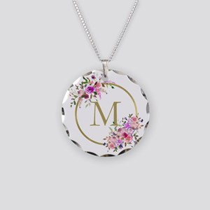 Floral and Gold Monogram Necklace