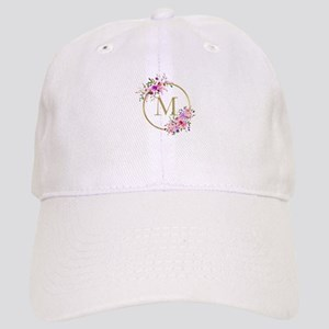 Floral and Gold Monogram Baseball Cap