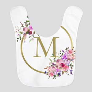 Floral and Gold Monogram Polyester Baby Bib