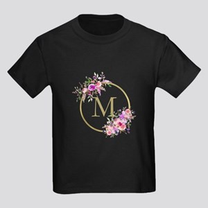 Floral and Gold Monogram T-Shirt