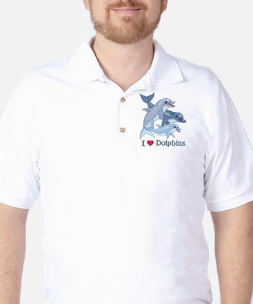 Dolphin Family and Text Golf Shirt