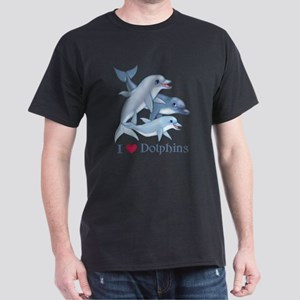 Dolphin Family and Text Dark T-Shirt