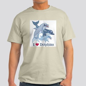 Dolphin Family and Text Light T-Shirt