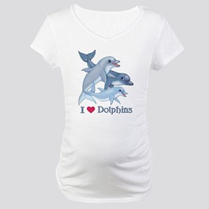 Dolphin Family and Text Maternity T-Shirt
