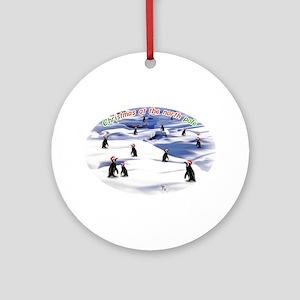 Chimp Christmas Ornament (Round)
