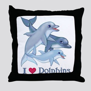 Dolphin Family and Text Throw Pillow