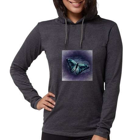 Blue Monarch Butterfly on Purp Long Sleeve T-Shirt