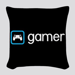 Gamer (Blue) Woven Throw Pillow