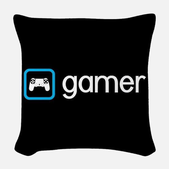 Gamer (Blue) Woven Throw Pillow