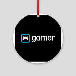 Gamer (Blue) Round Ornament