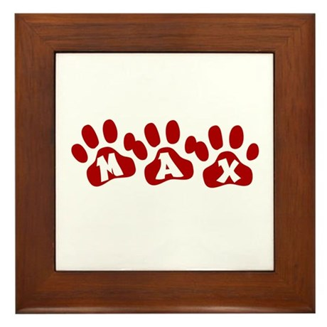 Max Paw Prints Framed Tile