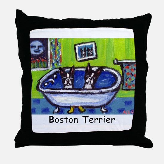 BOSTON TERRIER two in bath de Throw Pillow