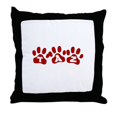 Taz Paw Prints Throw Pillow