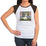 Lilies / Fr Bulldog (f) Women's Cap Sleeve T-Shirt