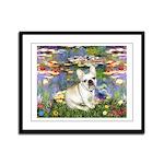Lilies / Fr Bulldog (f) Framed Panel Print