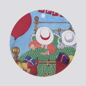 In Bed on Christmas morning Ornament (Round)