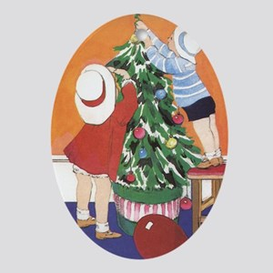Dressing the Tree Oval Ornament