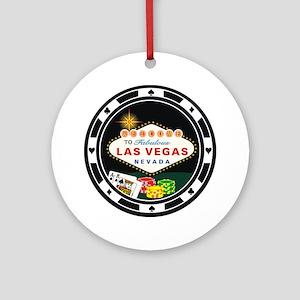 Las Vegas Poker Chip Design Ornament (Round)