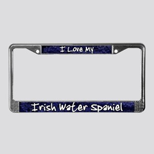 Funky Love Irish Water Spaniel License Plate Frame
