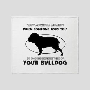 Bulldog Dog Awesome Designs Throw Blanket