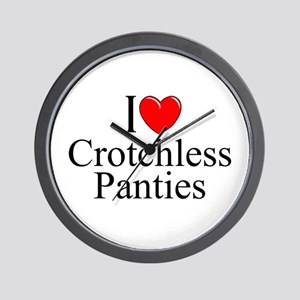 """I Love (Heart) Crotchless Panties"" Wall Clock"