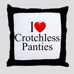 """I Love (Heart) Crotchless Panties"" Throw Pillow"
