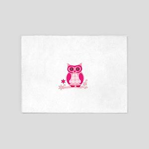 Pink Owl 5'x7'Area Rug