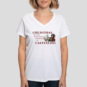 Capitalist Christmas Women's V-Neck T-Shirt
