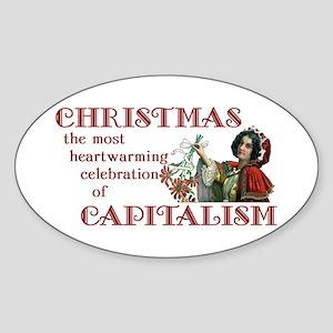 Capitalist Christmas Oval Sticker