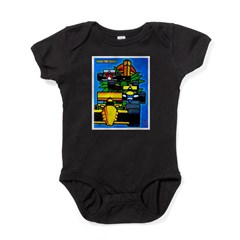 Grand Prix Auto Racing Print Baby Bodysuit