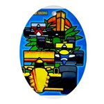 Grand Prix Auto Racing Print Oval Ornament