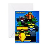 Grand Prix Auto Racing Print Greeting Cards
