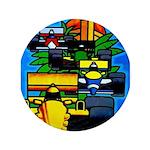 "Grand Prix Auto Racing Print 3.5"" Button (100 pack"
