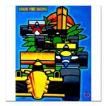 Grand Prix Auto Racing Print Square Car Magnet 3