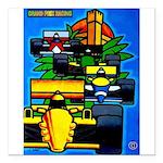 Grand Prix Auto Racing Print Square Car Magnet 3