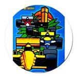 Grand Prix Auto Racing Print Round Car Magnet